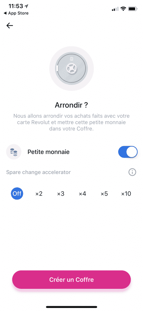 "Aperçu de l'interface "" Arrondir "" lors qu'on ouvre un coffre"